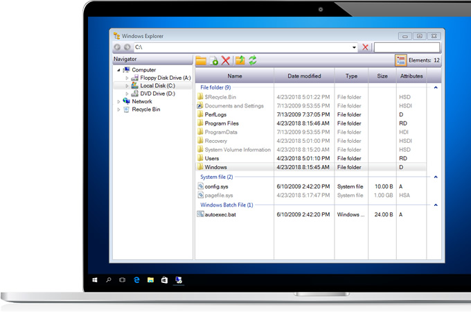 SkayTek Controls WinForms - Windows Explorer